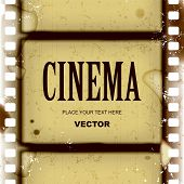 stock photo of strip  - Vector grunge frame and background with spoiled vintage film strip - JPG