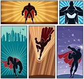 stock photo of superman  - Set of 5 superhero banners - JPG