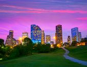stock photo of highrises  - Houston Texas modern skyline at sunset twilight from park lawn - JPG