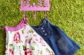 picture of habilis  - Fashion baby dresses hanging on a hanger on a green background - JPG