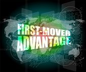image of movers  - first mover advantage words on digital touch screen interface - JPG