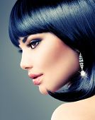 Beautiful Brunette Woman. Bob Haircut. Fringe Hairstyle. Short hair. Fashion Model Girl with beauty