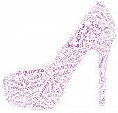 stock photo of diva  - Word cloud of red high heel shoe silhouette - JPG