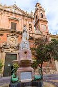 image of tomas  - Valencia Santo Tomas church in plaza san Vicente Ferrer with fountain at Spain - JPG
