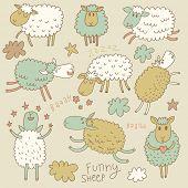 stock photo of sheep  - Cute cartoon sheep in vector - JPG