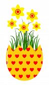 stock photo of broken heart flower  - vector daffodils in egg pot isolated on white background - JPG