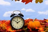 foto of fall leaves  - Fall coloured leaves with a black clock on a sky background Fall Leaves - JPG
