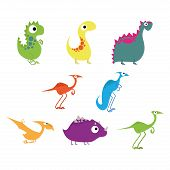 foto of apatosaurus  - Set Of Different Cute Cartoon Dinosaurs Isolated - JPG