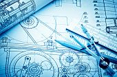 pic of mechanical drawing  - industrial drawing detail and several drawing tools - JPG