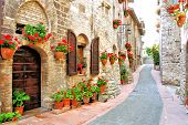 stock photo of stone house  - Picturesque lane with flowers in an Italian hill town - JPG