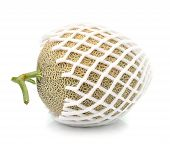 stock photo of ares  - Cantaloupe in net bag Isolated on white background - JPG