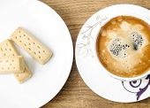 picture of shortbread  - Decorative coffee cup and shortbread biscuitsview from above - JPG