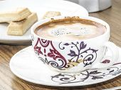 foto of shortbread  - Decorative coffee cup and shortbread biscuits and coffee maker - JPG
