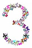 Number Three Composed By Butterflies