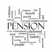 picture of employee month  - Pension Word Cloud Concept in black and white with great terms such as benefit deferred retirement and more - JPG