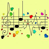 picture of ekg  - Musical ekg with different hearts vector illustration - JPG