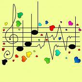 stock photo of ekg  - Musical ekg with different hearts vector illustration - JPG