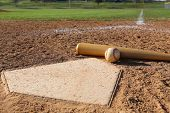stock photo of baseball bat  - Baseball and Bat at Home Plate with the Field Beyond - JPG