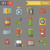 Retro Flat Household Icons and Symbols Set Vector Illustration