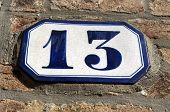 House Number 13 Sign Plate In Venice