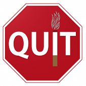 foto of octagon  - A red and white octagonal Quit Smoking sign isolated on white - JPG
