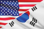pic of south american flag  - Flags of USA and South Korea blowing in the wind - JPG