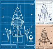 foto of starship  - Cartoon blueprint of rocket ship in 3 versions - JPG