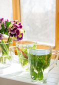 Mint Tea, Violas Flowers And Good Morning Note