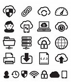 Cloud computing icons set BW
