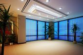 stock photo of highrises  - Empty Business office or apartment room highrise interior - JPG