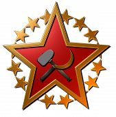 stock photo of hammer sickle  - a 3D Gold and red metallic Russian star wit a hammer and sickle displayed in front of the star - JPG