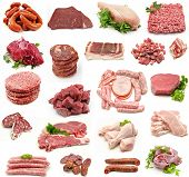 picture of raw chicken sausage  - Collage of raw meat on white background - JPG