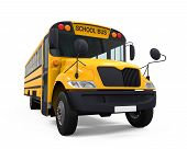 stock photo of driving school  - Yellow School Bus isolated on white background - JPG