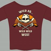 foto of wrangler  - Burgundy Wild West Theme Tee Shirt with Hat and Gun Graphic - JPG