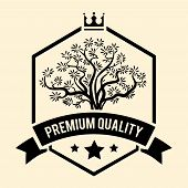 pic of olive trees  - Black and white vector Premium Quality badge or label for Olive Oil with a branching olive tree inside a shield above a ribbon banner with the text - JPG