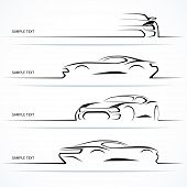 image of speeding car  - Set of modern car silhouettes - JPG