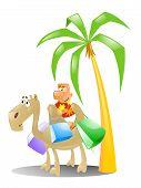 tourist riding a camel poster
