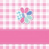 stock photo of tartan plaid  - illustration of a colorful patterned flower with pink ribbon on plaid background - JPG