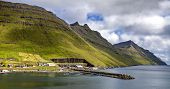 image of faroe islands  - View of part of the city of Klaksvik in the Faroe Islands Denmark in North Atlantic - JPG