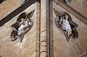 stock photo of perseus  - Sculptures architectural detail of Loggia de Lanzi Piazza della Signoria Florence Italy - JPG