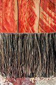image of bristle brush  - closeup paint brush bristles on grunge wood texture  - JPG