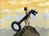 picture of divine  - a girl on top of a hill with a big wrench in hand looking up - JPG