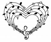 picture of heart sounds  - On the white background of black notes and treble clef heart  - JPG
