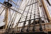 stock photo of rig  - The masts and rigging of the tall ship U - JPG