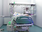 stock photo of icu  - Heavy patient in ICU ward in hospital - JPG