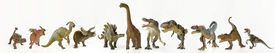 image of ankylosaurus  - A Group of Eleven Ferocious Dinosaurs Lined Up in a Row Against White - JPG