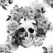 picture of sugar skulls  - Beautiful watercolor vector pattern with nice skull - JPG