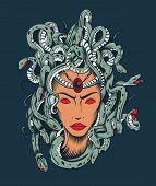 stock photo of poison  - Illustration of Medusa Gorgon head with poison snakes - JPG