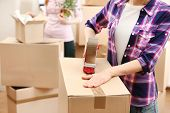 stock photo of packing  - Packing boxes close - JPG