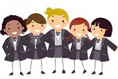 picture of stickman  - Stickman Illustration of Girls Wearing Their Winter Uniform - JPG